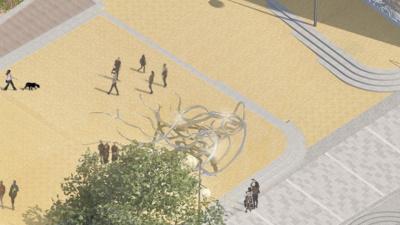 Sparbanken visar alla tre förslagen till konstverk för Stora torg