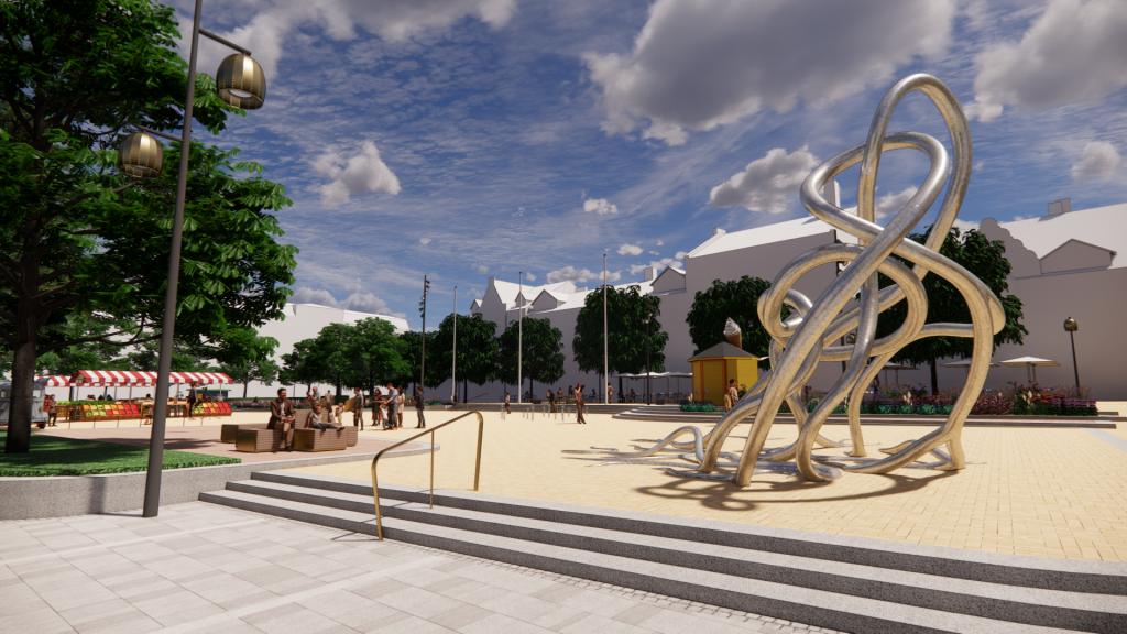 3D-bild av Stora torg vid nya konstverket och Kofferthörnan