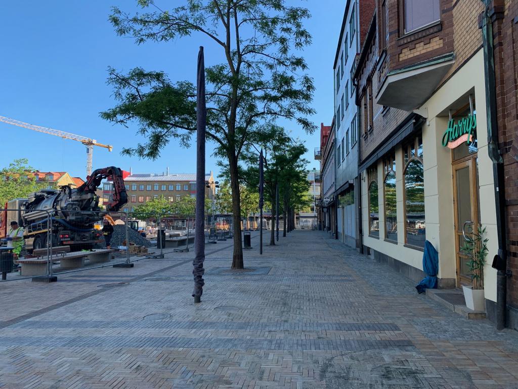 Köpmansgatan med nylagt marktegel